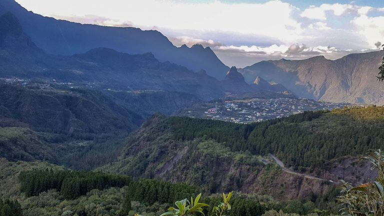 beautiful landscape with mountains in La Reunion