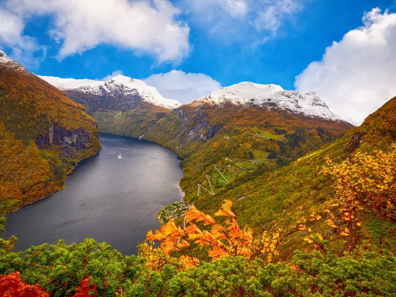 Geirangerfjord in Norway in autumn