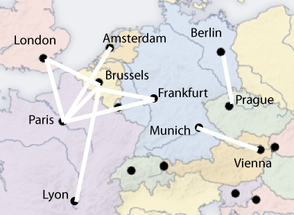 European routes where the train is faster than the airplane