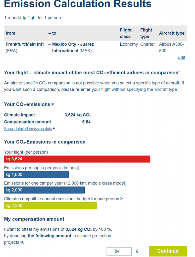 Example for CO2 compensation of a flight from Germany to Mexico at Atmosfair