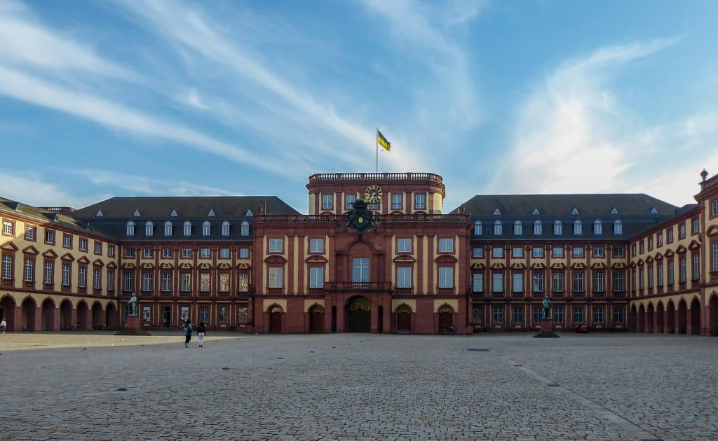 Castle in Mannheim. Stage of the Rhine cycle path