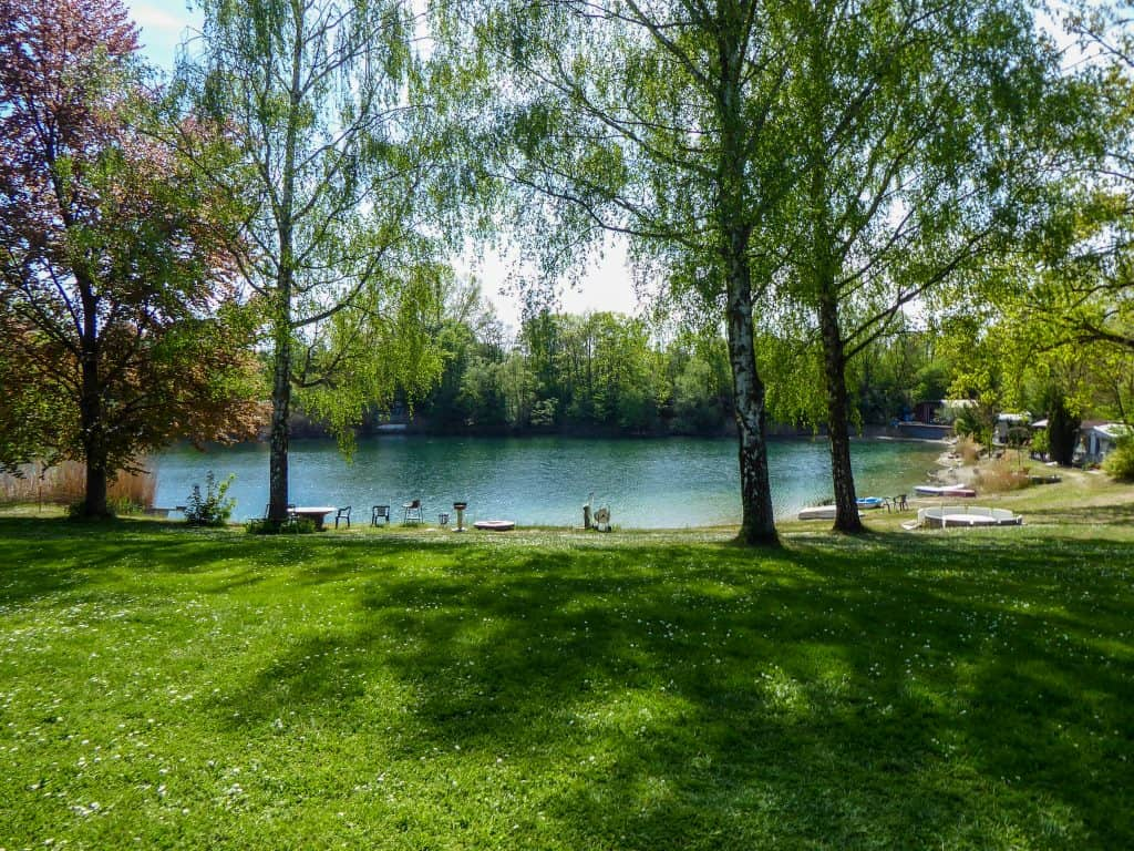 Camping ground in Biblis at the Rhine cycle path