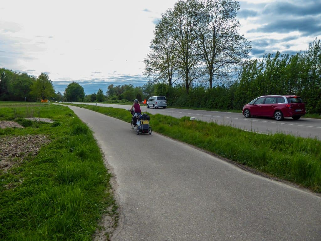 The Rhine Valley Cycle Path often leads directly next to roads