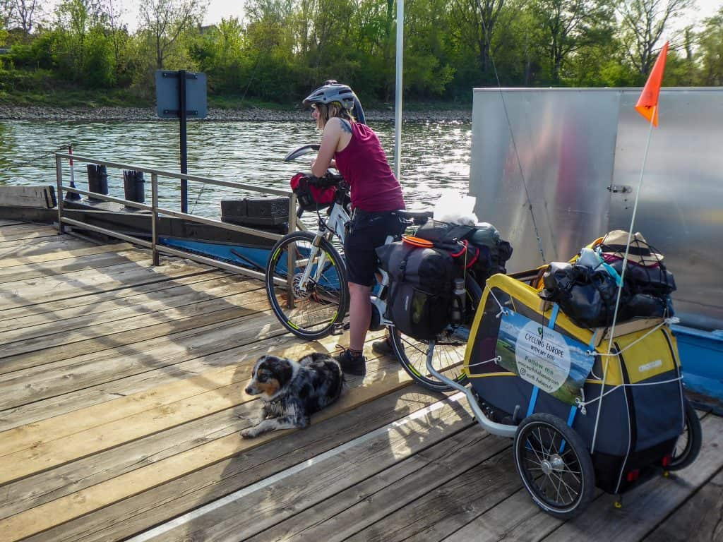 Crossing the Rhine by boat on the Rhine cycle path