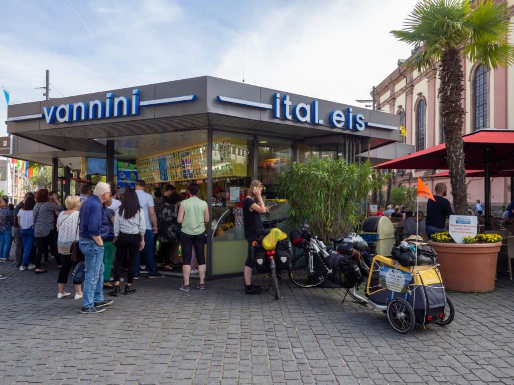 Vannini ice cream parlour in Worms on the Rhine cycle path