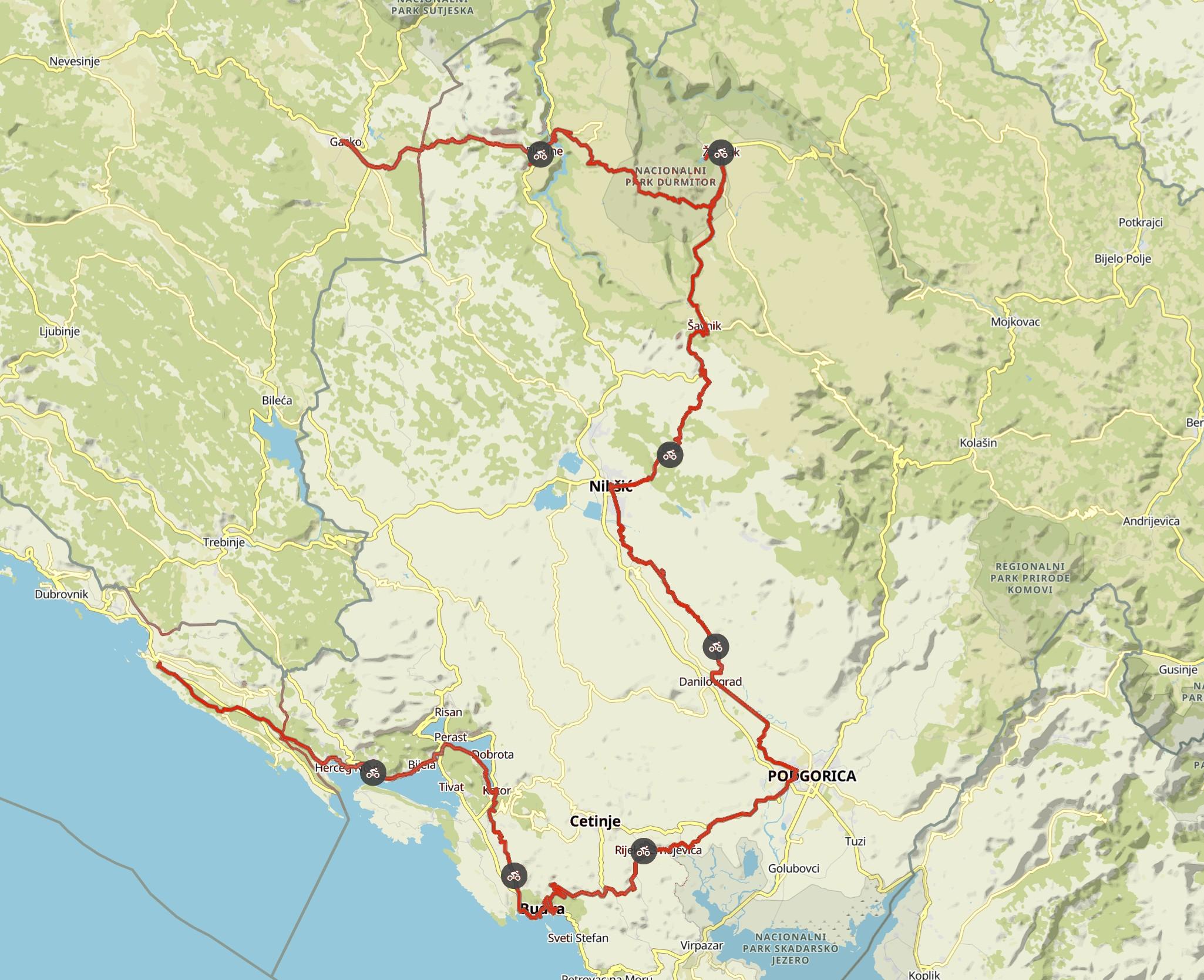 Komoot maps e-bike tour Europe with my dog 2019 – Montenegro