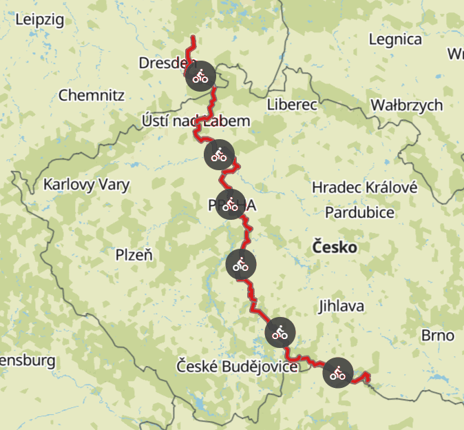 Komoot maps e-bike tour Europe with my dog 2019 – Czech Republic