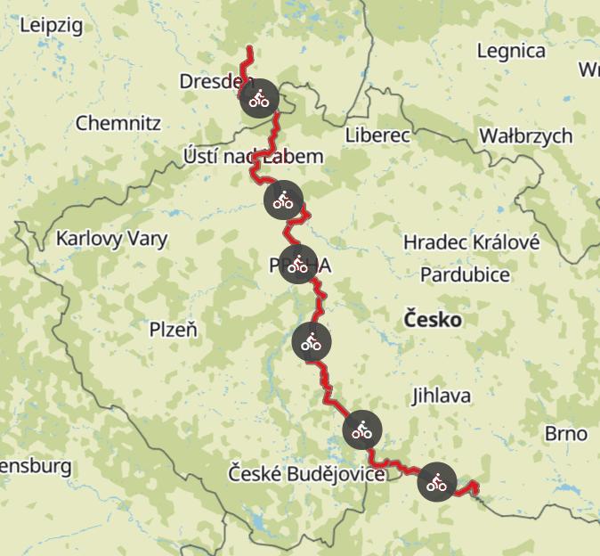 Komoot Karten E-Bike Europatour mit Hund 2019 – Tschechien