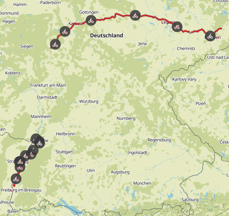 Komoot Maps E-Bike Tour of Europe with my Dog 2019 – Germany